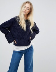 Wild Flower Chenille Jumper With Fluted Sleeves - Navy