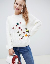 Wild Flower Jumper With 3D Floral Embroidery - Cream