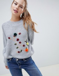 Wild Flower Jumper With 3D Floral Embroidery - Grey