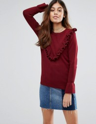 Wild Flower Jumper With Frill Detail - Red