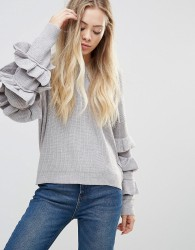 Wild Flower Jumper With Frill Detail Sleeves - Grey