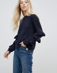 Wild Flower Jumper With Frill Detail Sleeves - Navy