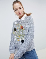 Wild Flower Jumper With Pom Pom and Floral Embroidery - Navy