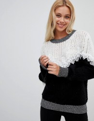 Wild Flower Ribbed Jumper With Lace Detail - Black