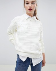 Wild Flower Ribbed Jumper With Pearl Embellishment - Cream