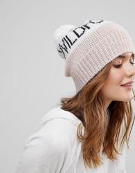 Wildfox Knitted Beanie with Pom Pom - Pink