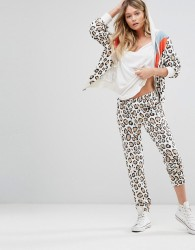Wildfox Retro Leopard Tracksuit Pant - White