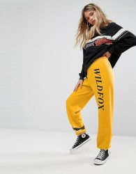 Wildfox Sports Stripe Rose Logo Jogger - Yellow