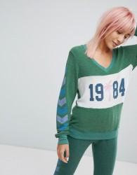 Wildfox V Neck Chevron Sleeve Print Sweatshirt - Green