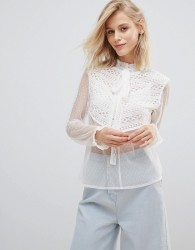 Willow And Paige Blouse With Tie Neck And Ruffle Trim In Sheer - White