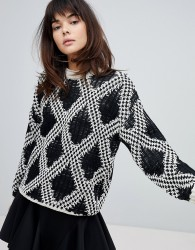 Willow And Paige Chunky Knit Jumper With Contrast Pattern - Black