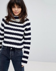 Willow And Paige Chunky Knit Roll Neck Jumper In Stripe - Black
