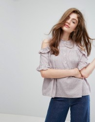 Willow and Paige Cold Shoulder Smock Top With Ruffle Trim - Red