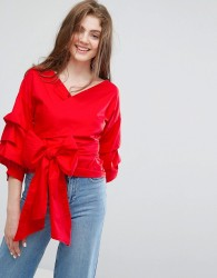 Willow and Paige Extreme Wrap Blouse With Layered Sleeves - Red