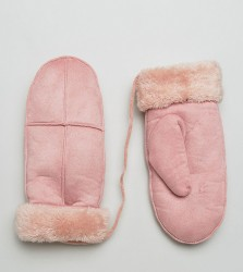 Willow and Paige Faux Shearling Mittens in Pink - Pink