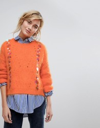 Willow And Paige Fluffy Jumper With Sequin Embellishment - Orange