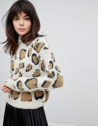 Willow And Paige High Neck Fluffy Jumper In Oversized Leopard Print - Multi
