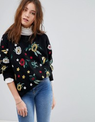 Willow And Paige Jumper With Floral Embroidery - Black