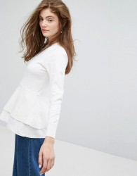 Willow and Paige Lightweight Jumper With Textured Panel - Cream