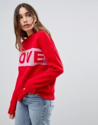 Willow And Paige Love Slogan Jumper - Red