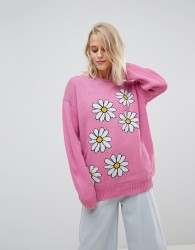 Willow And Paige Oversized Jumper With Daisy Design - Pink