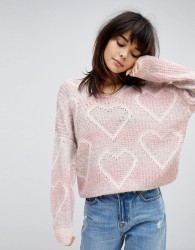Willow And Paige Oversized Jumper With Heart Pattern - Pink