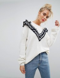 Willow And Paige Oversized Jumper With Tipped Ruffle Trim - White