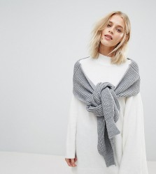 Willow and Paige Oversized Ribbed Cuffed Jumper Scarf - Grey