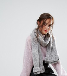 Willow and Paige Oversized Scarf with Frill Detail - Grey