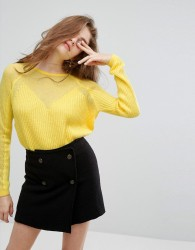 Willow and Paige Relaxed Jumper With Loose Knit Sleeves - Yellow