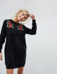 Willow And Paige Relaxed Sweat Dress With Balloon Sleeves And Floral Embroidery - Black