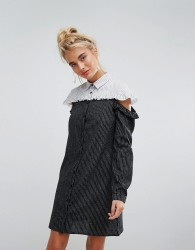 Willow And Paige Shirt Dress With Cold Shoulder Ruffle In Contrast Stripe - Blue