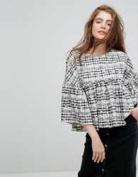 Willow and Paige Smock Top In Floral Gingham - Multi