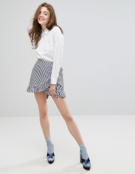 Willow and Paige Wrap Front Mini Skirt With Ruffle Trim In Gingham - Blue