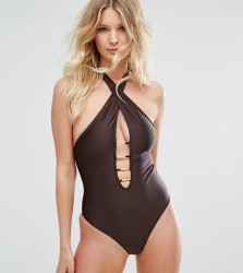 Wolf & Whistle B-F Cup Cross Neck Plunge Swimsuit - Brown