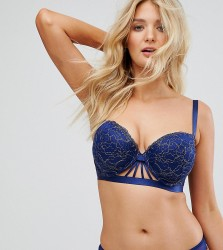 Wolf & Whistle B-G Navy and Gold Caged Bra - Navy