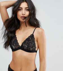 Wolf & Whistle Black Lace Triangle Bra - Black