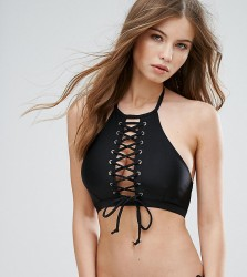 Wolf & Whistle Eyelet Lace Up Crop Bikini Top B/C - E/F Cup - Black
