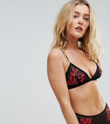 Wolf & Whistle Floral Embroidery Triangle Bra - Black