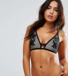 Wolf & Whistle Lace Applique Fishnet Bikini Top B/C - E/F - Black