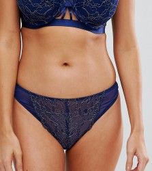 Wolf & Whistle Navy and Gold High Leg Thong - Navy