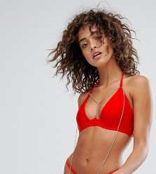 Wolf & Whistle Plunge Bikini Top With Exposed Cradle & Chain A-D Cup - Red