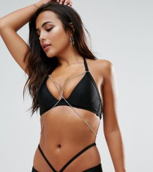 Wolf & Whistle Plunge Bikini Top With Exposed Cradle & Chain B-F Cup - Black