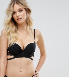 Wolf & Whistle Plunge Macrame Lace Up Bikini Top B-G Cup - Black