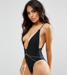 Wolf & Whistle Plunge Swimsuit With Removable Chain B-F Cup - Black