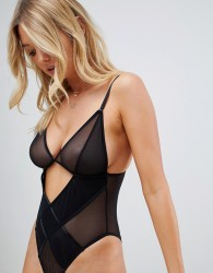 Wolf & Whistle sheer mesh cut our detail body in black - Black