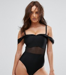 Wolf & Whistle Tailored Off The Shoulder Swimsuit With Mesh Inserts DD - G Cup - Black
