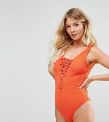 Wolf & Whistle Textured Lace Up Swimsuit D-F Cup - Multi