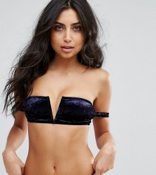 Wolf & Whistle Velvet Strappy Bikini Top - Navy