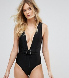 Wolf & Whistle Waspie Swimsuit D-F Cup - Black